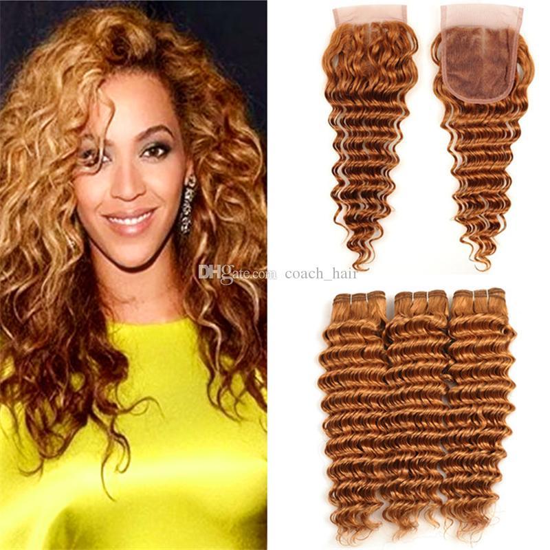 Acheter Auburn Brown Couleur 30 Deep Wave Bouclés Cheveux Bouclés