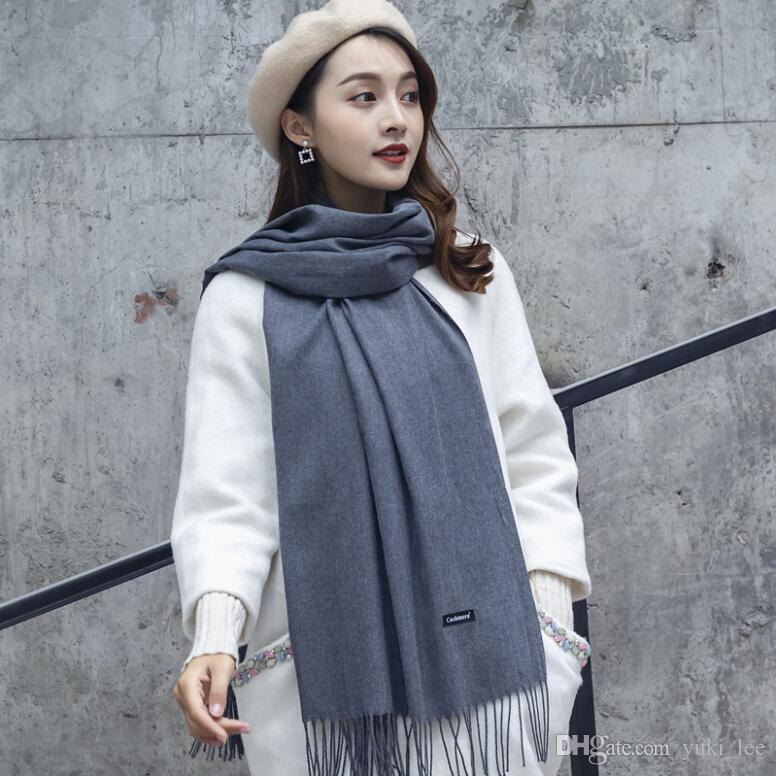e4343051197ff hoe sale 2019 free shipping Mixed Cashmere Solid color Shawl Wrap Women's  Plain Scarf Soft Fringes Solid Scarf Size:200*70cm