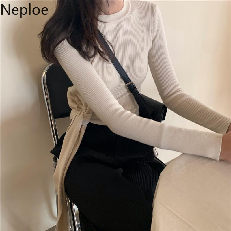 wholesale Bow Tie Bandage Knitted Pullover Solid Short Knitwear Women Long Sleeve Slim Jumper 2019 Autumn Korean Pull Femme 54569
