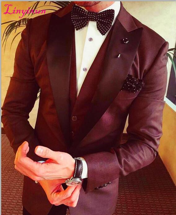 915aac957 2019 Linyixun 2017 Latest Coat Pant Design Burgundy Groom Men Suits Slim  Fit Tuxedo Custom Blazer Prom Suit From Qyzs002, $170.89 | DHgate.Com
