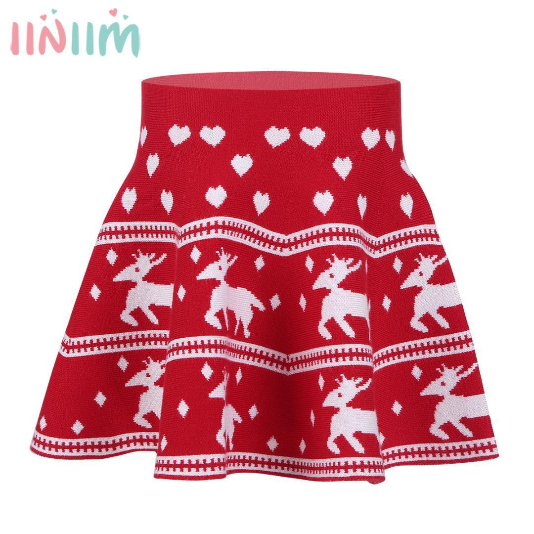b69061232 Patrón de cariño elk de las niñas niños elástico impreso punto falda mini  falda para otoño invierno fiesta de navidad faldas ocasionales