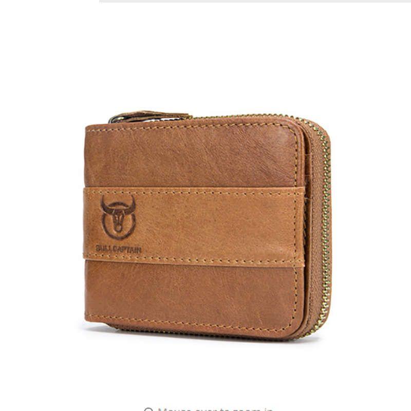 ad754db01f024b Großhandel BULLCAPTAIN Männer Echtes Leder Brieftasche Männer Brieftasche  Rindsleder Geldbörse Dünne Designer Marke Brieftasche Gelb Braun Von  Godefera, ...