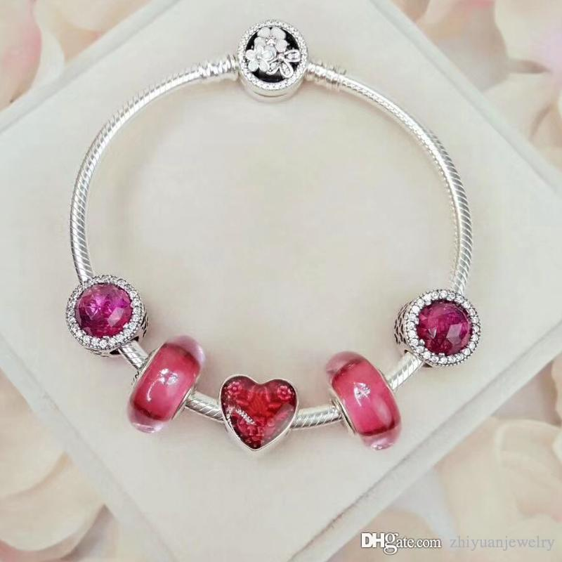 447e8377c Wholesale Pandora Red Beads Charm Bracelets Top Quality 925 Sterling Silver  Jewelry Original Full Package Box Rose Gold Charm Bracelet White Gold Charm  ...