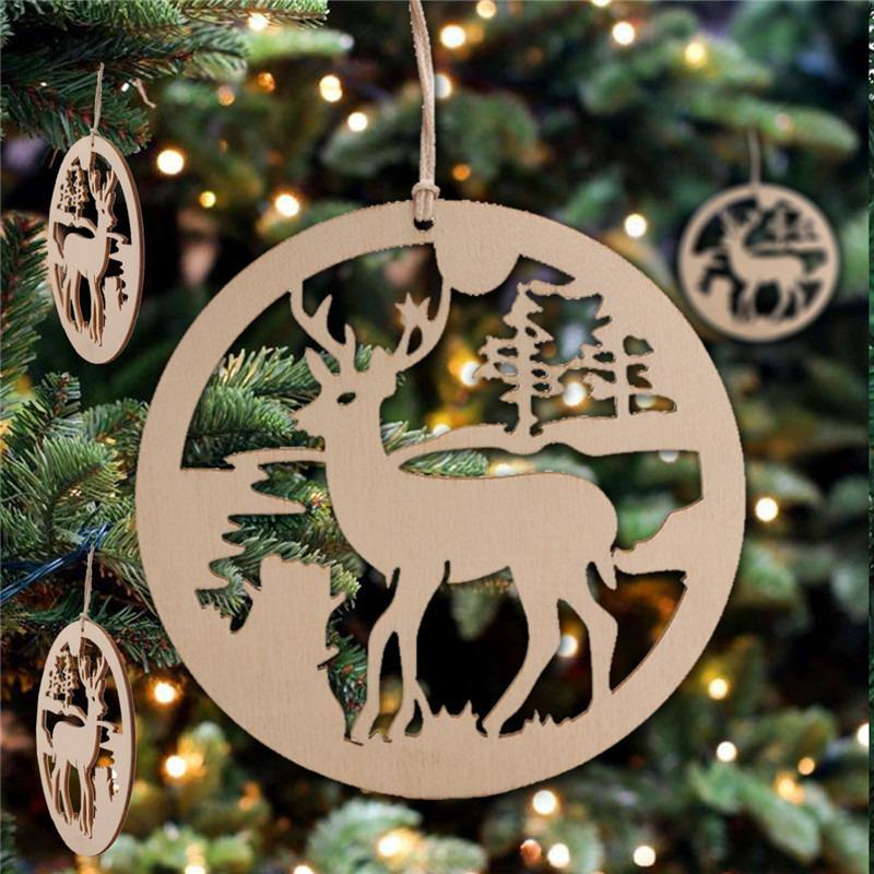 10PCS Wood Cutout Christmas Hanging Pendant Ornaments Unfinished Wooden Slices Crafts With Burlap Rope For Home Kerst Decoratie