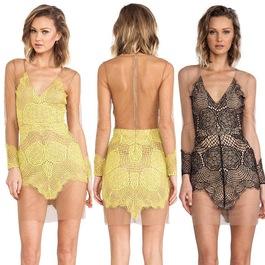 Hot Sale Vestidos Sexy Lace Mesh For Love And Lemons Hollow Out Dresses  Whiter Black And Yellow S M L Gowns Designer Dresses From Piera c0e12d5a43a6