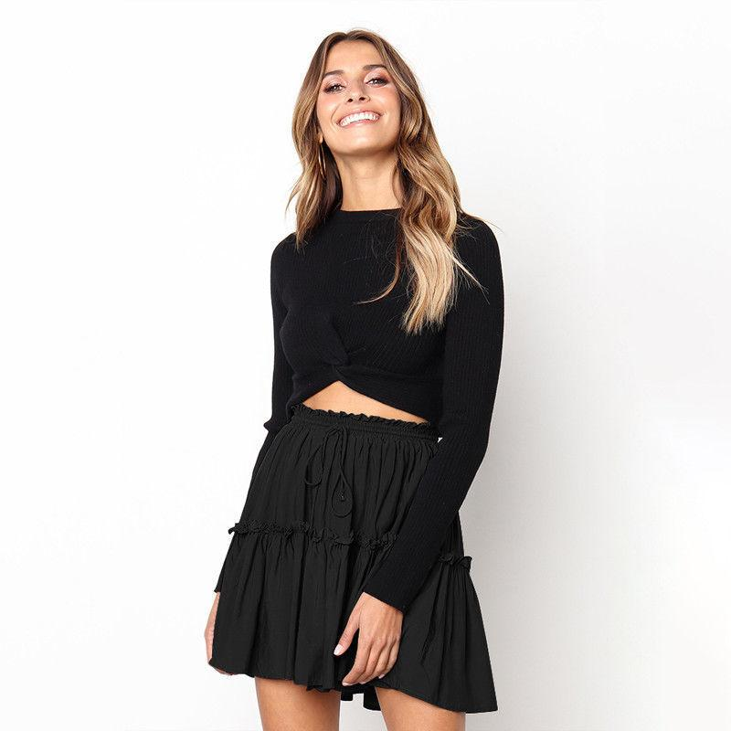 4ec89ea9f6 Ladies Sexy Solid Ruffle Mini Princess Skirts Women Summer Casual High  Waist Pleated Short Skirts Black Evening Dress Plus Size Cocktail Dress  From ...