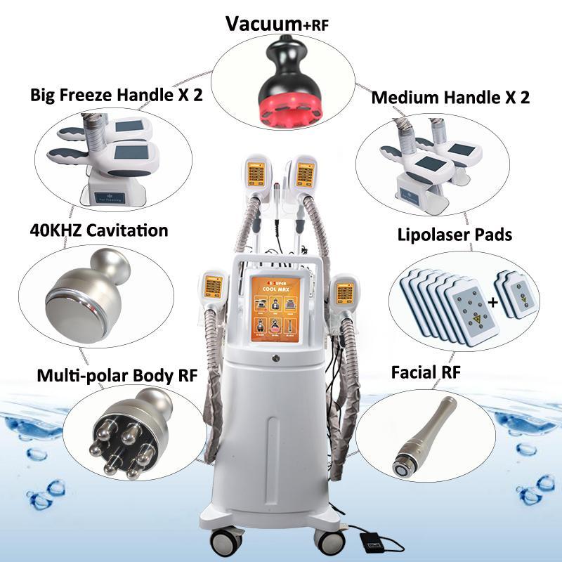 Máquina gorda de congelação de Zeltiq Cryolipolysis 4 punhos que trabalham o emagrecimento de corpo Cryolipolysis Cavitação rf remoção de gordura Celulite máquinas anti