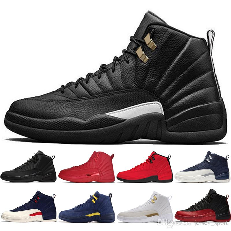 biggest discount e75c9 76cd1 Cheap New 12s Winterized WNTR Gym Red Michigan Mens Basketball Shoes The  Master Flu Game Taxi Wings UNC Black 12 men sport sneakers trainers