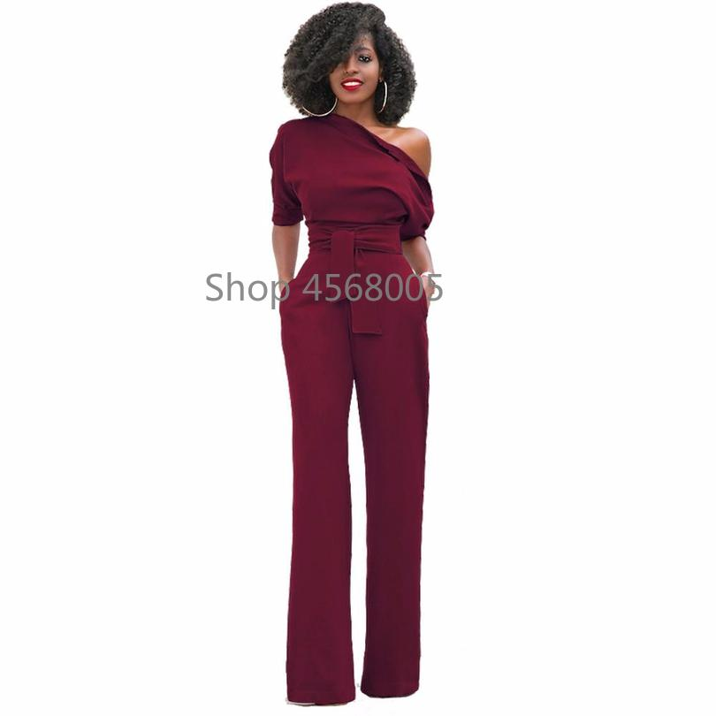 4daece09921 2019 2018 Fashion Off The Shoulder Elegant Jumpsuits Women Rompers Womens  Jumpsuits Short Sleeve Female Overalls One Piece Pants S 3x From Weikelai