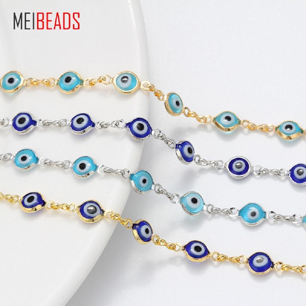 07083b13ca986 Satın Al MEIBEADS Sıcak Satış Alaşım Mavi / Açık Mavi Nazar Şanslı Göz Boncuk  Kadınlar Için Zincir Bilezik Takı Charms Bilezik EY153, $34.29 |  DHgate.Com'da