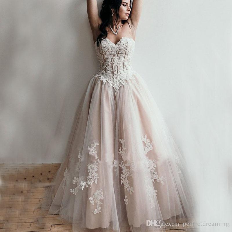 1c74e3b11 Compre 2019 Nuevos Vestidos De Novia Cariño Apliques De Abalorios Una Línea Sin  Tirantes De Princesa Con Cordones En La Espalda Vestido De Novia Vestido De  ...