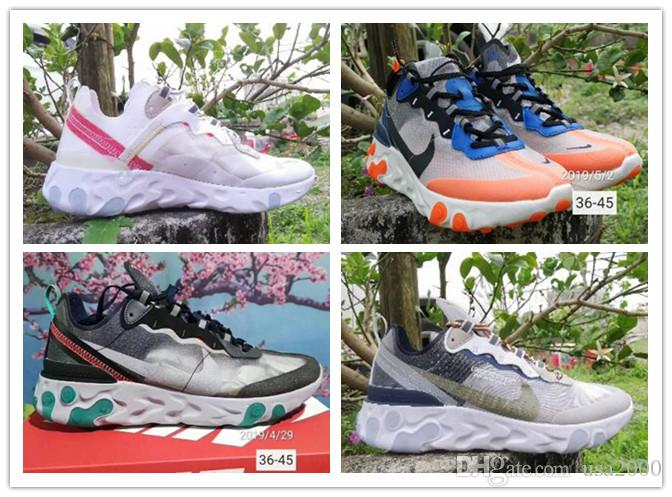 76d22b595e Nike React Element 87 running shoes for man women Sail Royal Tint  Anthracite VOLT RACER PINK trainer breathable sports sneakers 36-45