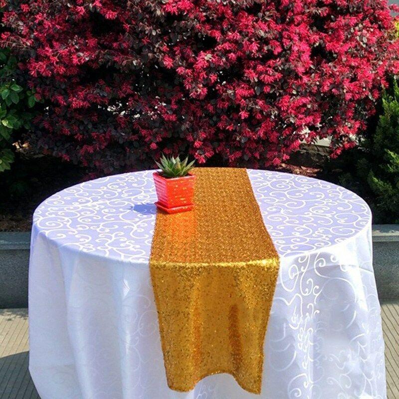 30x180 / 275 / 300cm وكبيرة الحجم الترتر الجدول عداء حفل زفاف الجدول زينة المائدة عداء الذهب الفضة وارتفع الذهب الشمبانيا