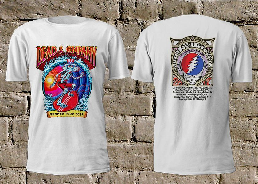 65ff7d5f8319 2019 New Tees CheapDEAD   COMPANY Summer Tour 2017 Skull Surfing White  TShirt Rock Grateful Dead Order T Shirts Quality T Shirts From Es44