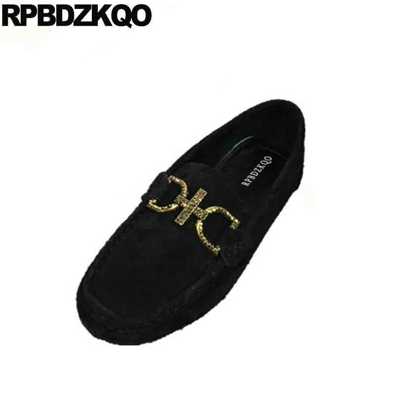 1c4e578dbed Slip On Wide Fit Shoes Ladies Suede Moccasins Grey Metal Designer Round Toe  Flats Women Fitness 2018 British Style Black Loafers Mens Boat Shoes Boat  Shoes ...