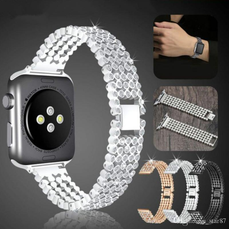 d4bc37539a8 Compre Elegante Correa De Diamante De Cristal Para Apple Watch Band 38mm  42mm 40mm 44mm Bandas De Reemplazo De Acero Inoxidable Para IWatch Series 1  2 3 4 A ...
