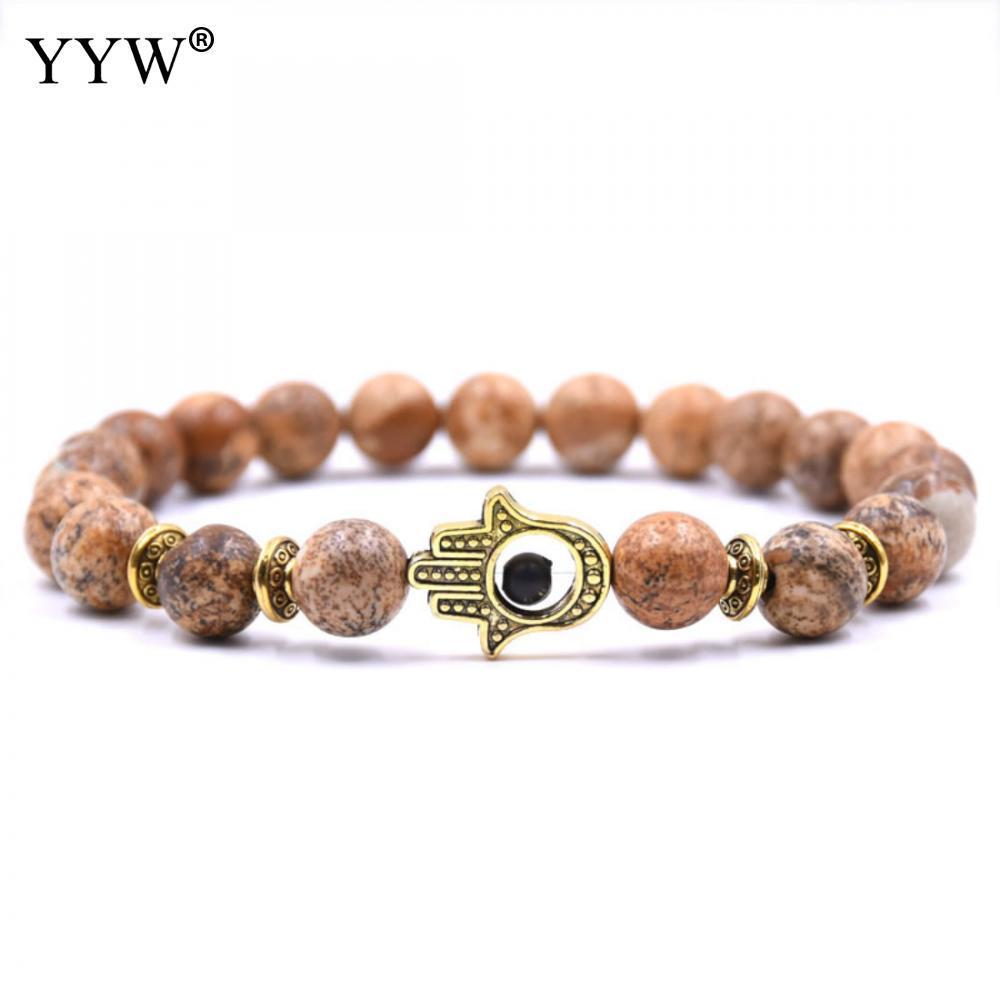 Naturstein Perlenarmband Hamsa Hand Charme Armband Mala Schwarz Lava Tigerauge Stein Armbänder Für Männer Frauen Schmuck