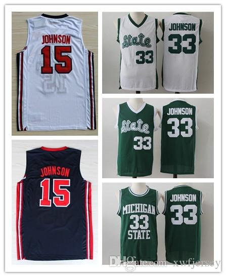 quality design d3a74 b9994 Magic Earvin Jersery Michigan State Spartans 33 Johnson 1992 Olympic Game  American Dream One 15 Johnson Basketball Jerseys Shirt S-2XL