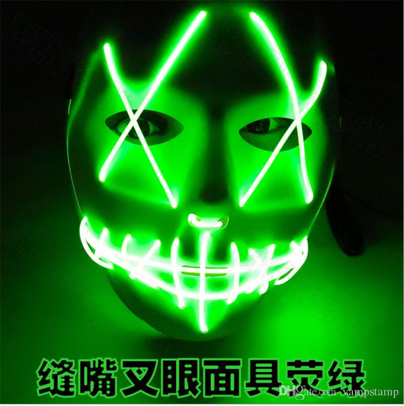 LED Glow Ghost Face Terrorist Seam Mouth Fork Halloween Mask Carnival Fak