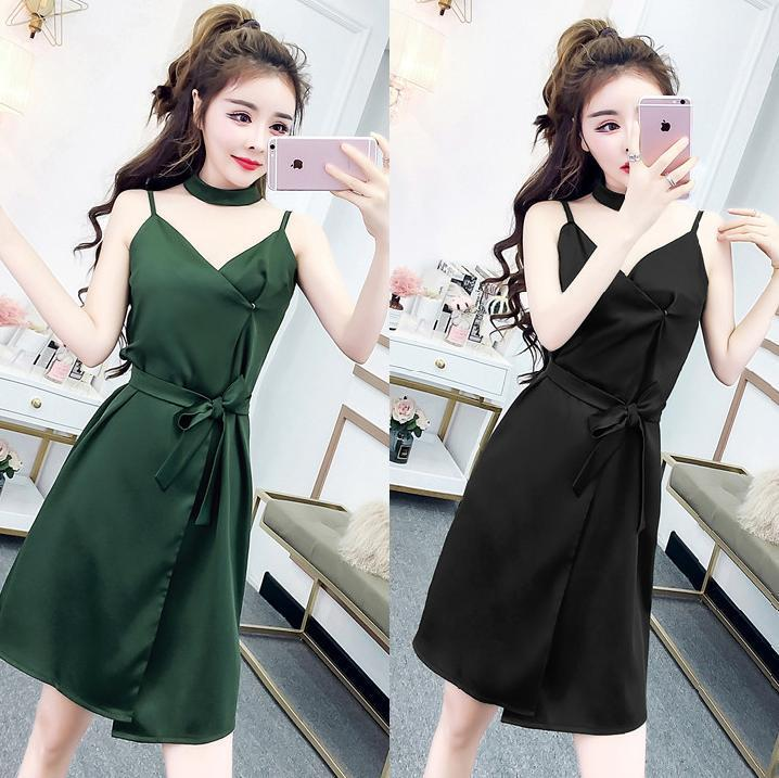 0a0668fbcac8 2019 New Korean Summer Wear Sexy Sling Women Nightclub Dress Short Skirt  With Scarf And Belt QC0127 Girl Dress Summer Dresses For Women From  Zhouli2013