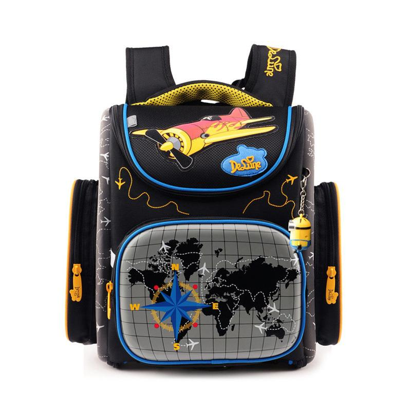Delune Brand Ergonomic Design Children Large Orthopedic Foldable School Bags Kids Primary Boys Cartoon School Backpack For Girls