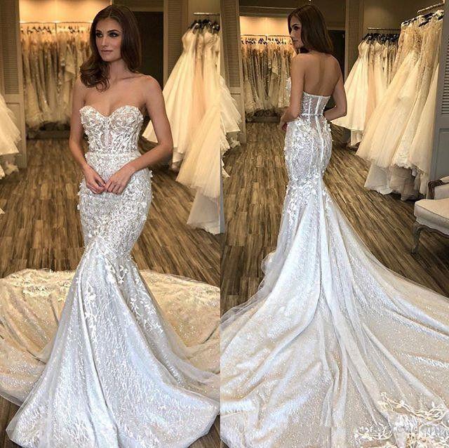 Trumpet Wedding Dresses 2019: 2019 Gorgeous Mermaid Lace Wedding Dresses Sweetheart
