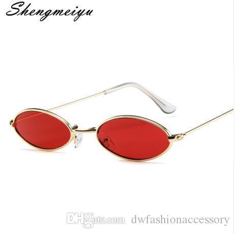 b87a90c54e Compre Gafas De Sol Ovaladas Pequeñas Para Hombre, Con Marco De Metal Retro  Amarillo Rojo Vintage, Gafas Redondas Pequeñas Redondas Para Mujeres 2019 A  ...