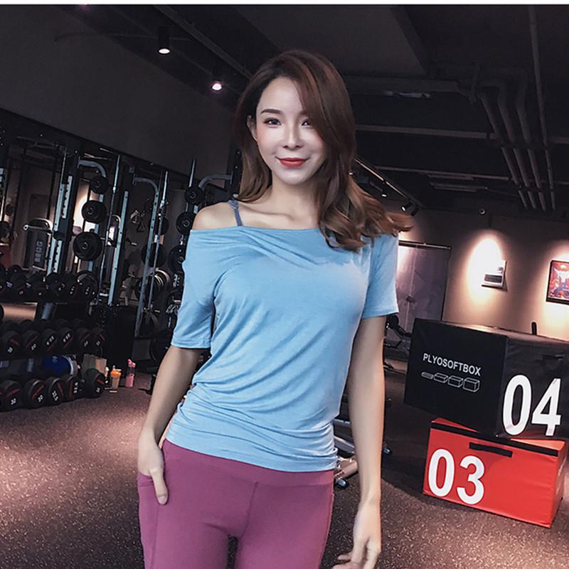403a29cf 2019 Women Short Sleeve Yoga Top Quick Drying Sport Top Slim Fit Yoga T Shirt  Fitness Running Shirt Gym Breathable Workout Clothes From Jaokui, ...