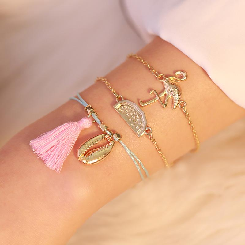Charm Bracelet Set Jewelry Gifts 3 Pcs/Set Bohemian Bird Tassel Bracelets Set For Women Multilayer Shell Watermelon Chain Bracelet
