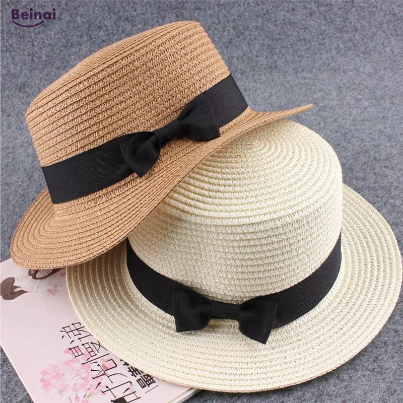 5c5d2274f8475 Compre Beinai Moda A Prueba De Agua Sombreros Para El Sol Mujer Boater  Gorras De Playa Bowknot Sombrero Plano De Paja Sombrero De Playa Sombrilla  Cúpula De ...