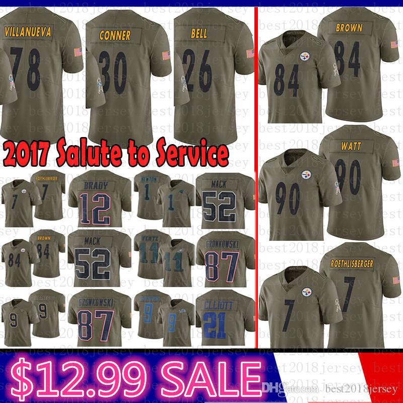 buy popular fa27e edfa4 Pittsburgh Steelers 2017 Salute to Service 84 Antonio Brown Jersey 90 T.J.  Watt 7 Ben Roethlisberger 26 Bell 78 Villanueva 30 James Conner