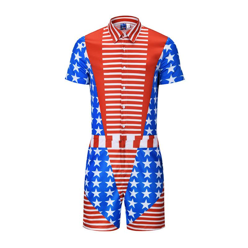 d0f999eff46f 2019 Stars And Stripes Mens Rompers Short Sleeve Jumpsuit Romper Playsuit  Beach Overalls One Piece Slim Fit Men Summer Street Party Wear From  Fyw0529