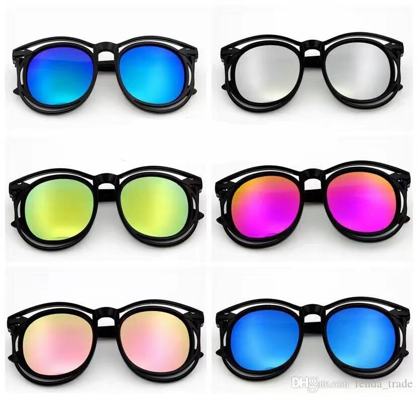 24PCS cute kids sunglasses reflective Shade kids Retro Fashion Designer Big Frame Sun Glasses Female Black sunglasses oculos 1377