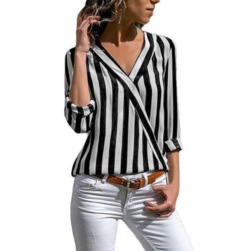 17d97740285c 2019 Women Ladies Causal Spring Autumn Shirts Blouse Long Sleeve V Neck  Striped Loose Cotton Tops Tees 3 Style From Jincaile10, $25.09 | DHgate.Com