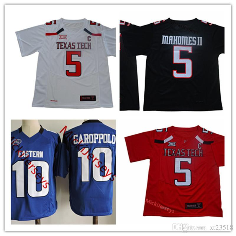 0002b5d3f60 2019 NCAA TTU Red Raiders #5 Patrick Mahomes II Texas Tech Red Raiders  Jersey Stitched Royal #10 Jimmy Garoppolo Eastern Illinois Panthers Jersey  From ...
