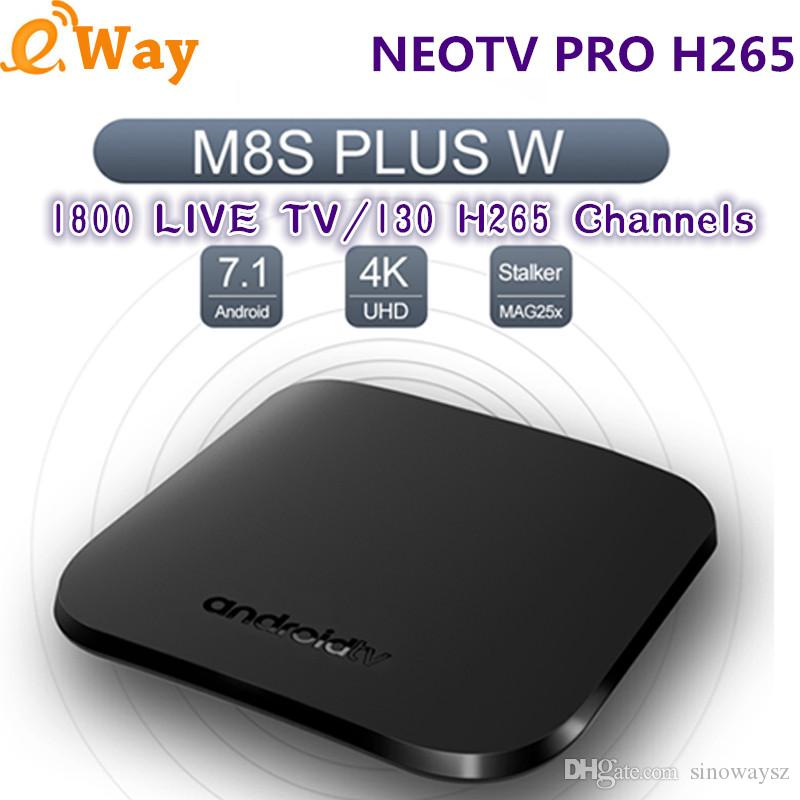 M8S PLUS W Android Quad Core NEOTV PRO 1800 live TV Europe Set Top Box 1 Year 130 H.265 French Arabic IPTV