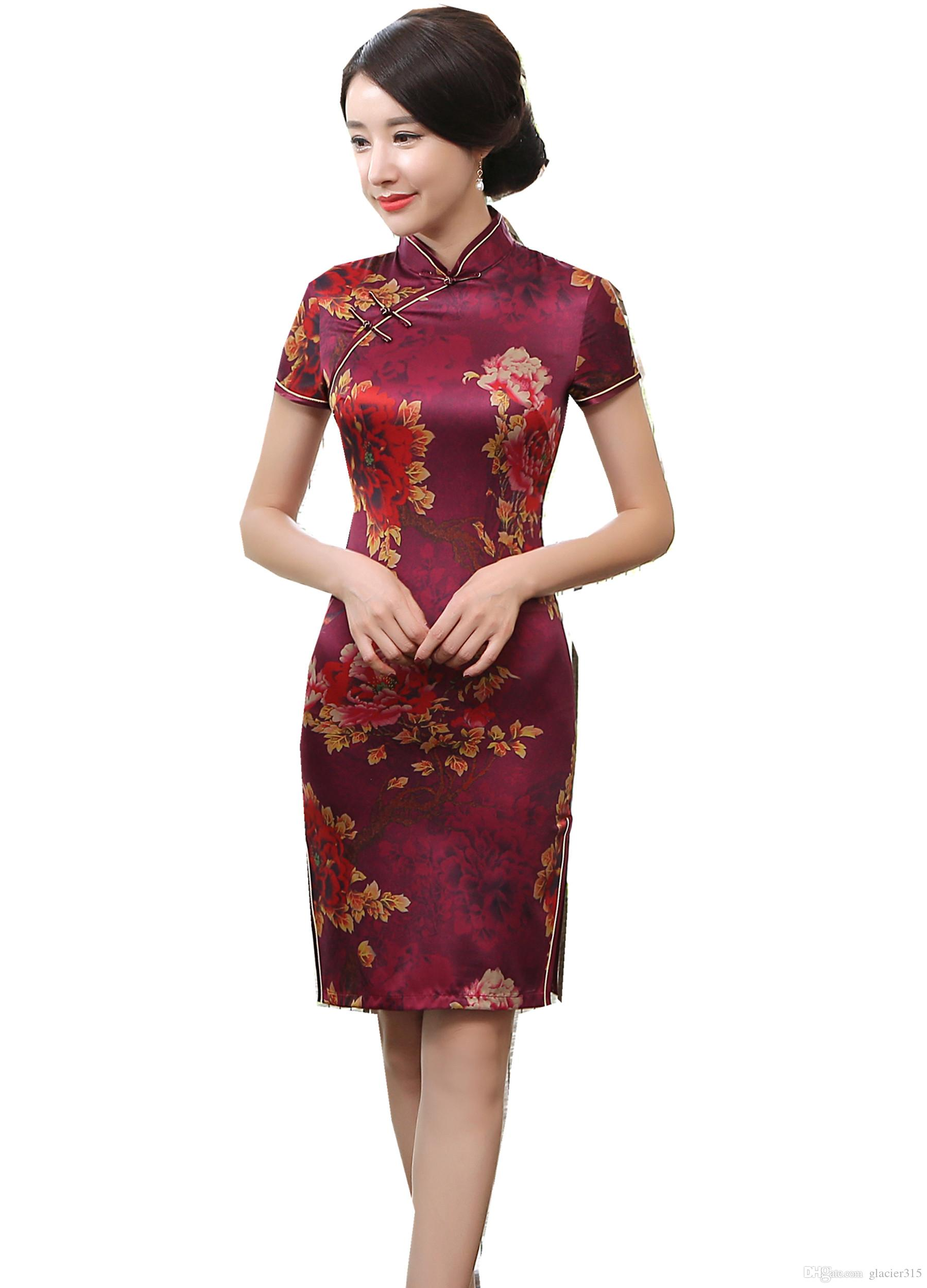 bd4ae4bf8 Shanghai Story 2019 New Sale Faux Silk Knee Length Cheongsam Dress Floral  Qipao Chinese Oriental Dress For Chinese Women's Dress Chinese Traditional  Dress ...