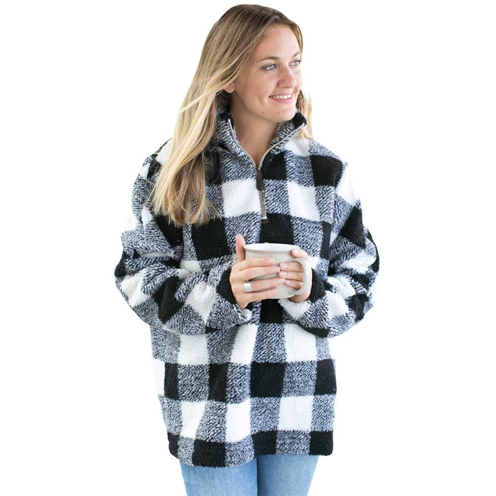 8b684692f3a 2019 Christmas Hoodies Plus Size Women Casual Sweatshirts Winter Fashion  Plaid Turtleneck Collar Zipper Long Sleeves Pullover Tops Coats From Jc801