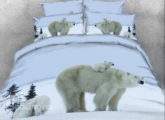 Großhandel Eisbär Mutter Trägt Cub Gedruckte 4 Teilige 3d Bettwäsche