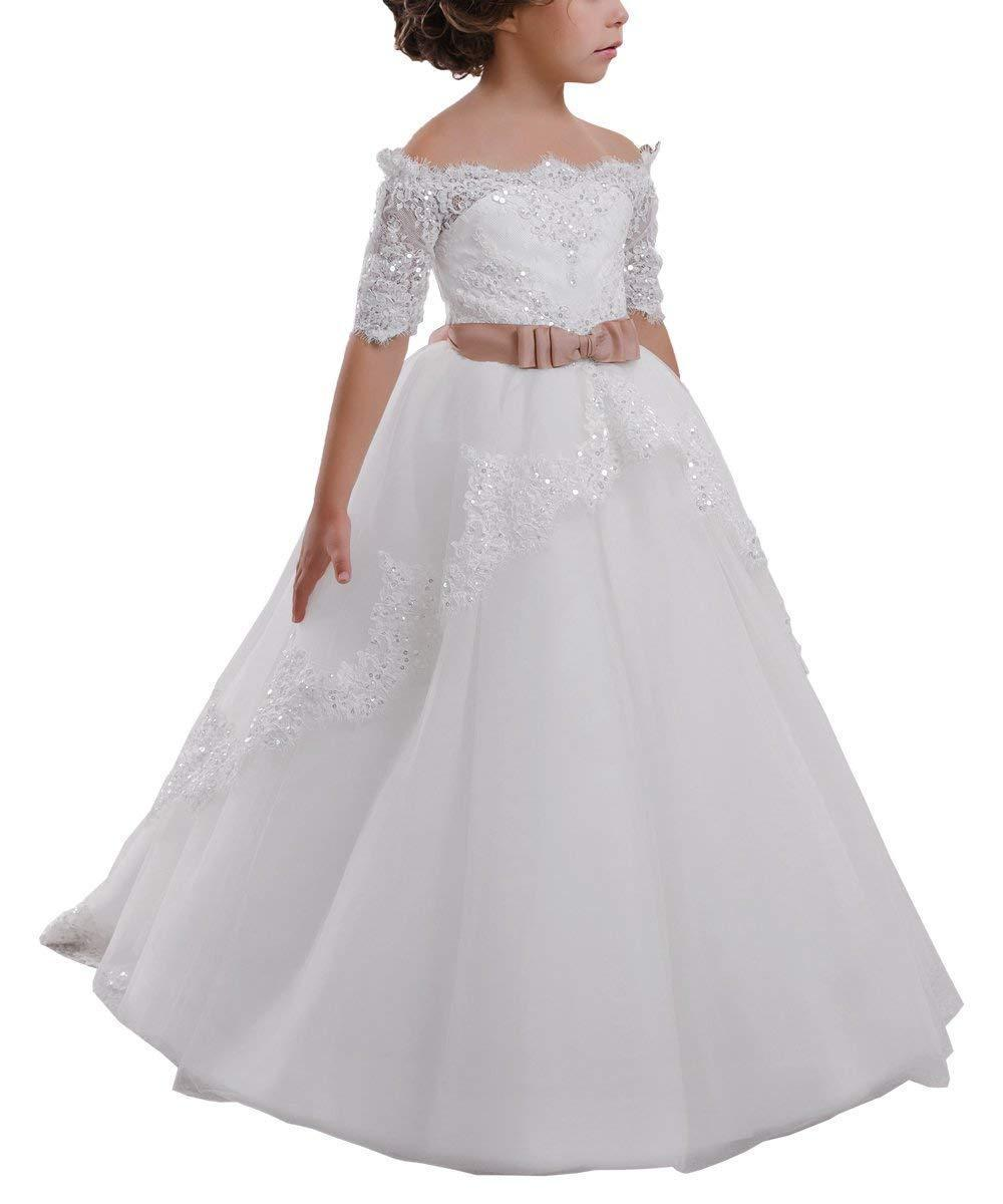 668e30b5a51 Kids Formal Occasion Wedding Party Carat Elegant Flower Girl Dress Lace  Beading First Communion Dress 2 12 Years Old Sears Flower Girl Dresses  Spring ...