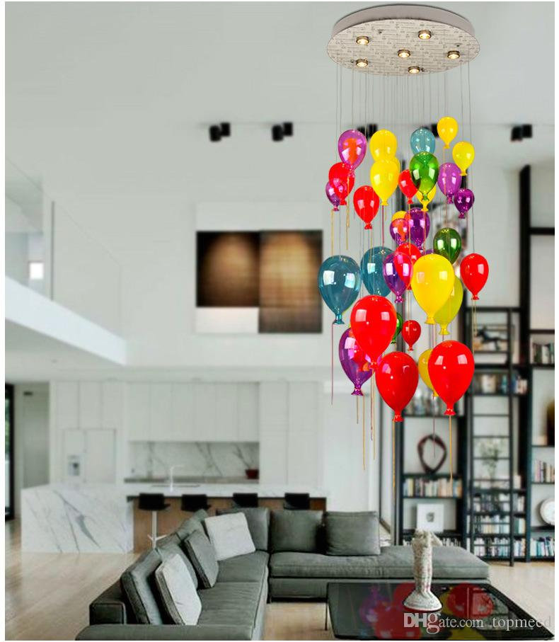 Modern LED Lamps Multi Color Glass Ball Balloon Pendant Light For Children Room Living Room Stair Light Suspension Light AL121