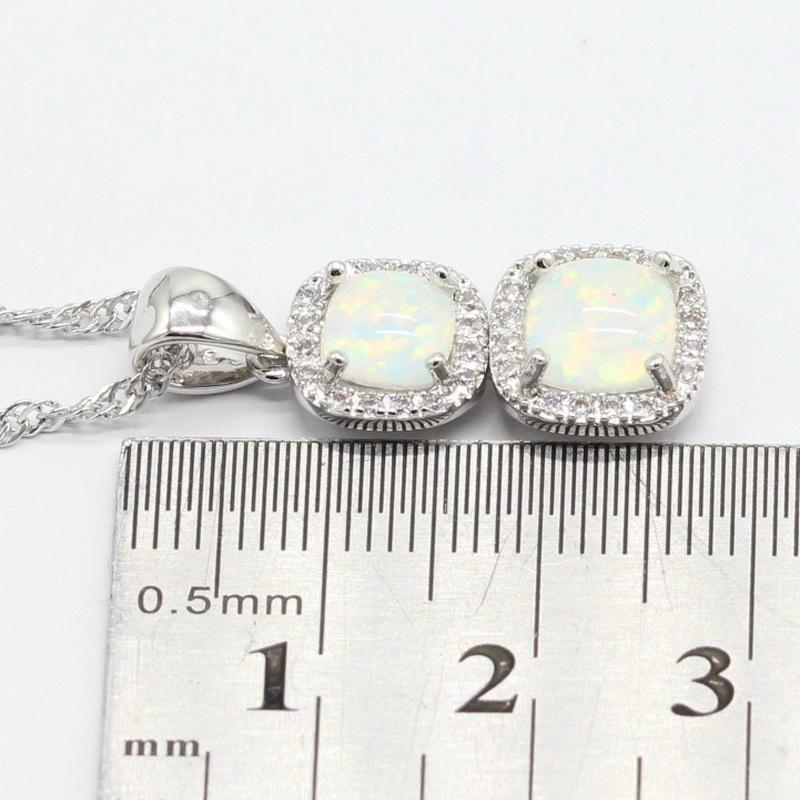 925 Sterling Silver Necklace Sets For Women Square White Opal Bridal's Earring Sets Dangle Earrings Choker Gift Box