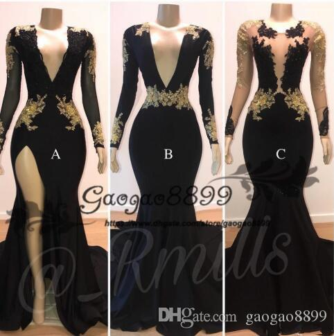 Black Sheer V Neck Side Split mermaid prom dresses Long Sleeves Gold Lace Applique 3 styles sexy Evening Gowns cheap vestidos de fiesta