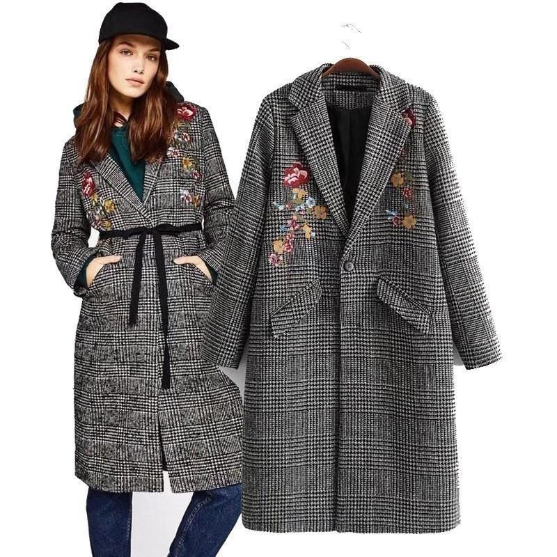 e4a47657c4 Compre Mulheres Casaco De Lã Casaco De Inverno Das Mulheres Xadrez Solto  Longo Um Botão De Mistura De Lã Floral Casacos De Lã Sobretudo De  Derrick82