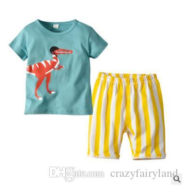 26700493 2019 Boys Clothing Set 2019 Summer Short Sleeve Cartoon Dinosaur Tops Kids  Boy Clothing Set T Shirt Striped Shorts Pants Cotton Boys Clothes 2 6T From  ...