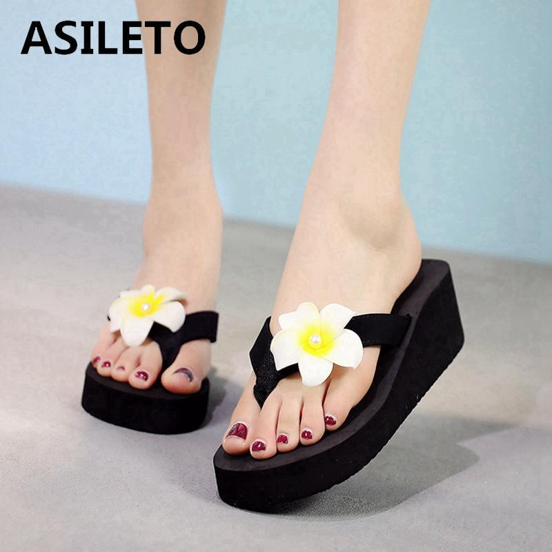 b349913252a44 ASILETO Summer Bohemia Slippers Women S Flip Flops Flower Wedge Sandals  Casual Beach Slippers Platform Pantoufles Zapatos Mujer Green Shoes Ankle  Boots For ...