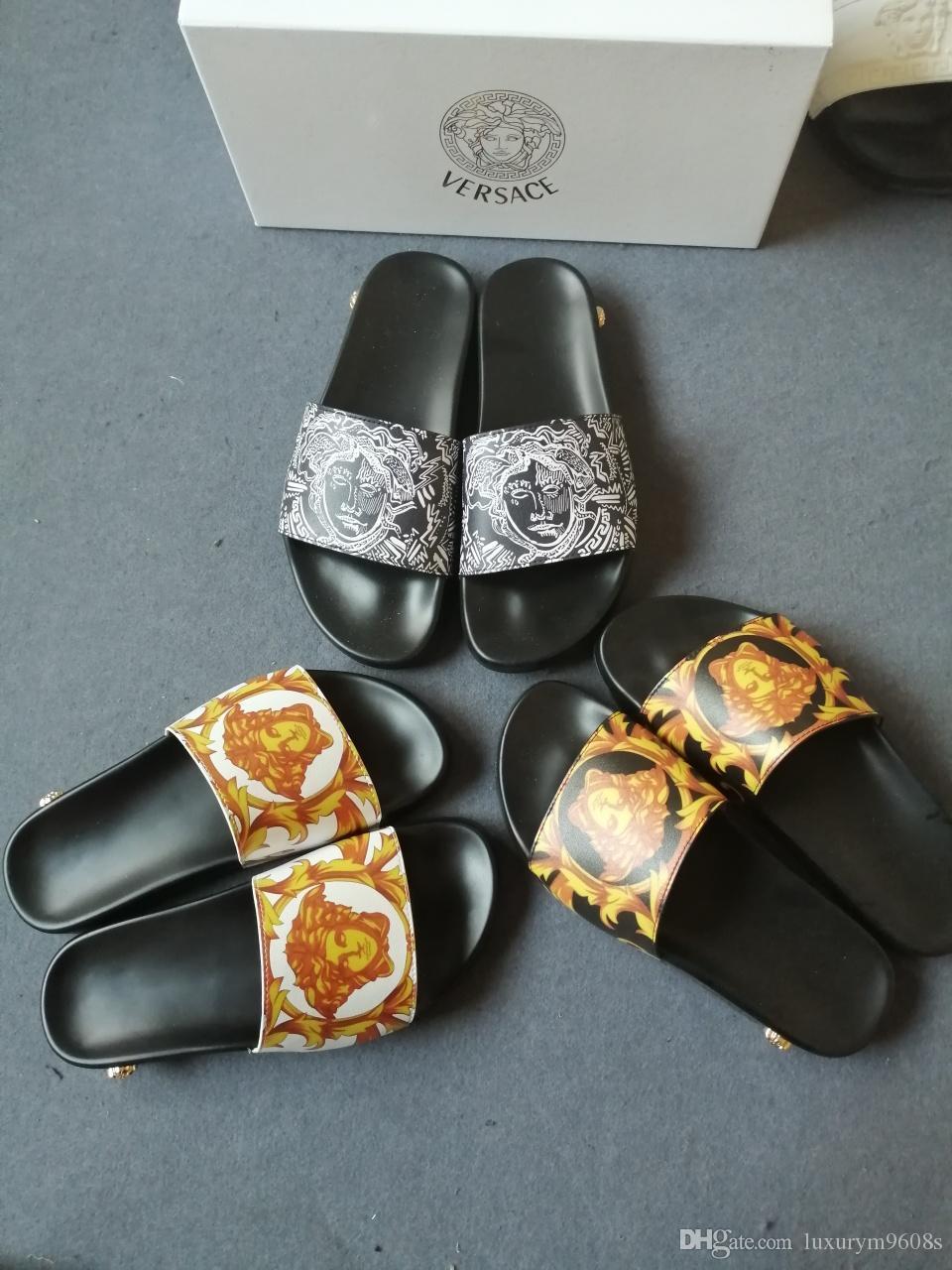 02b3da3a0 Fashion Slide Sandals Slippers For Men 2018 Hot Designer Medu Mens Beach Flip  Flops Slipper BEST QUALITY Siez35 45 Bridal Shoes Cheap Shoes From ...