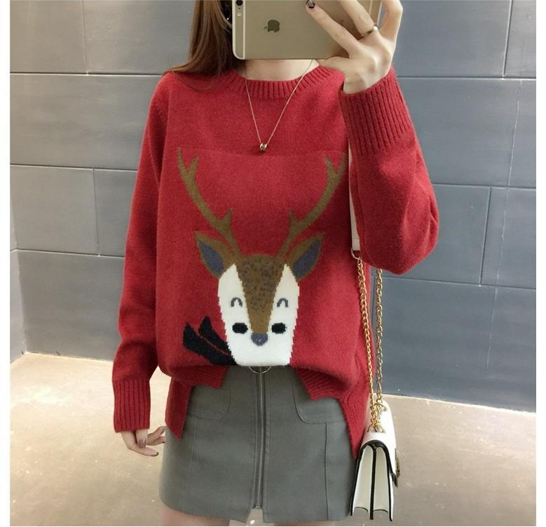 Koreanische Frauen Weihnachtsstrickjacke 2018 Winter Cartoon Lange Hülse Bodenbildung Jupmer Frauen Gestrickte Pullover Tops Pull Femme Hiver