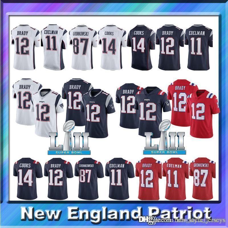 premium selection aa9b2 4ed6b Men 12 Tom Brady New Patriots jerseys 11 Julian Edelman 14 Brandin Cooks 87  Rob Gronkowski 15 Chris Hogan 10 Josh Gordon Brady