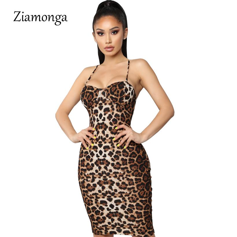 34de930ca5286 Ziamonga Leopard Print Strapless Women Club Dress Spaghetti Strap ...
